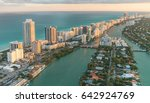 miami beach aerial view at dusk ... | Shutterstock . vector #642924769