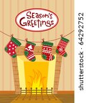 christmas stockings by the... | Shutterstock .eps vector #64292752