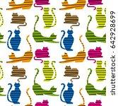 seamless cat pattern  | Shutterstock .eps vector #642928699