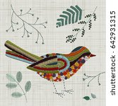 embroidery bird. vector... | Shutterstock .eps vector #642931315