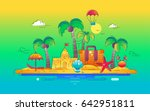 at the seaside   modern line... | Shutterstock . vector #642951811