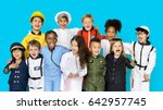 group of diverse kids wearing... | Shutterstock . vector #642957745