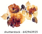 branch of roses retro... | Shutterstock . vector #642963925