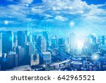 double exposure of cityscape... | Shutterstock . vector #642965521
