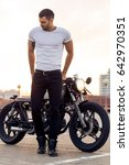 sporty biker handsome rider man ... | Shutterstock . vector #642970351