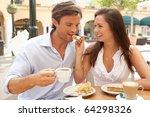 young couple enjoying coffee... | Shutterstock . vector #64298326