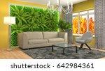 interior living room. 3d... | Shutterstock . vector #642984361