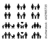 gay family with children icons ... | Shutterstock . vector #642985735
