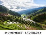 terraced rice paddies in north ... | Shutterstock . vector #642986065