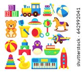 kids toys cartoon icons... | Shutterstock . vector #642992041