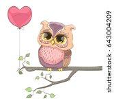 sweet owl and heart balloon....   Shutterstock .eps vector #643004209