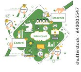 industry 4.0 modern thin lines...   Shutterstock .eps vector #643005547