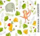 vector tropical background with ... | Shutterstock .eps vector #643009999