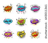 comic speech bubbles and... | Shutterstock .eps vector #643011361