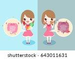cute cartoon woman with...   Shutterstock .eps vector #643011631
