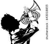 trumpet player   vector... | Shutterstock .eps vector #643018855