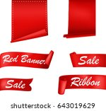red ribbons banners set | Shutterstock . vector #643019629