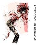 woman dancing over a grunge...   Shutterstock .eps vector #643023175