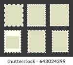 six blank postage stamps ... | Shutterstock .eps vector #643024399