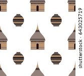 huts in africa. stylized image... | Shutterstock .eps vector #643025719