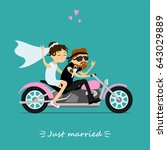 fun greeting card. groom and... | Shutterstock .eps vector #643029889