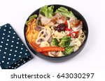 thai chinese food fried big... | Shutterstock . vector #643030297