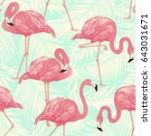 flamingo bird and tropical palm ... | Shutterstock .eps vector #643031671