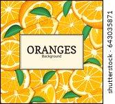 square label on citrus oranges... | Shutterstock .eps vector #643035871