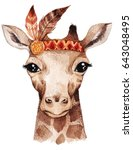 Stock photo watercolor giraffe portrait cute boho design with feathers nursery prints with animals posters 643048495