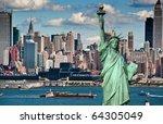 photo tourism concept for beautiful new york city skyline - stock photo