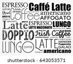 list of coffee drinks words... | Shutterstock .eps vector #643053571