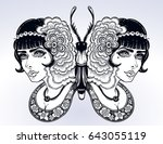 butterfly is drawn in a vintage ... | Shutterstock .eps vector #643055119