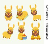 vector set with cute alpacas.  | Shutterstock .eps vector #643059691