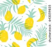 seamless yellow fruits pattern... | Shutterstock .eps vector #643059835