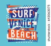 surf venice beach typography ... | Shutterstock .eps vector #643063075