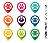 map pointer animal footprints... | Shutterstock .eps vector #643070755