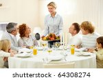 portrait of big family sitting... | Shutterstock . vector #64308274