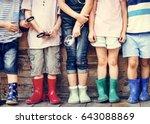 group of kindergarten kids... | Shutterstock . vector #643088869