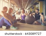 group of people workout in... | Shutterstock . vector #643089727
