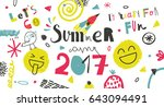 summer camp 2017 for kids... | Shutterstock .eps vector #643094491