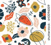 vector flower and fruits...   Shutterstock .eps vector #643096009