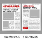 Daily newspaper journal design template with two-page opening editable headlines quotes text articles and images vector illustration | Shutterstock vector #643098985