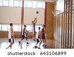 determined basketball players... | Shutterstock . vector #643106899