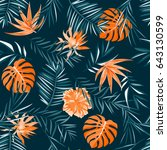tropical pattern. jungle palm... | Shutterstock .eps vector #643130599