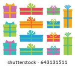 gift box birthday present set... | Shutterstock .eps vector #643131511