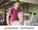 senior woman workout in... | Shutterstock . vector #643134019