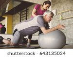 senior man workout in... | Shutterstock . vector #643135024