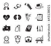 graphic icon set of medical... | Shutterstock .eps vector #643138021