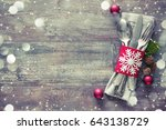 christmas table place setting.... | Shutterstock . vector #643138729