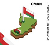 isometric map and flag of oman. ... | Shutterstock .eps vector #643140367